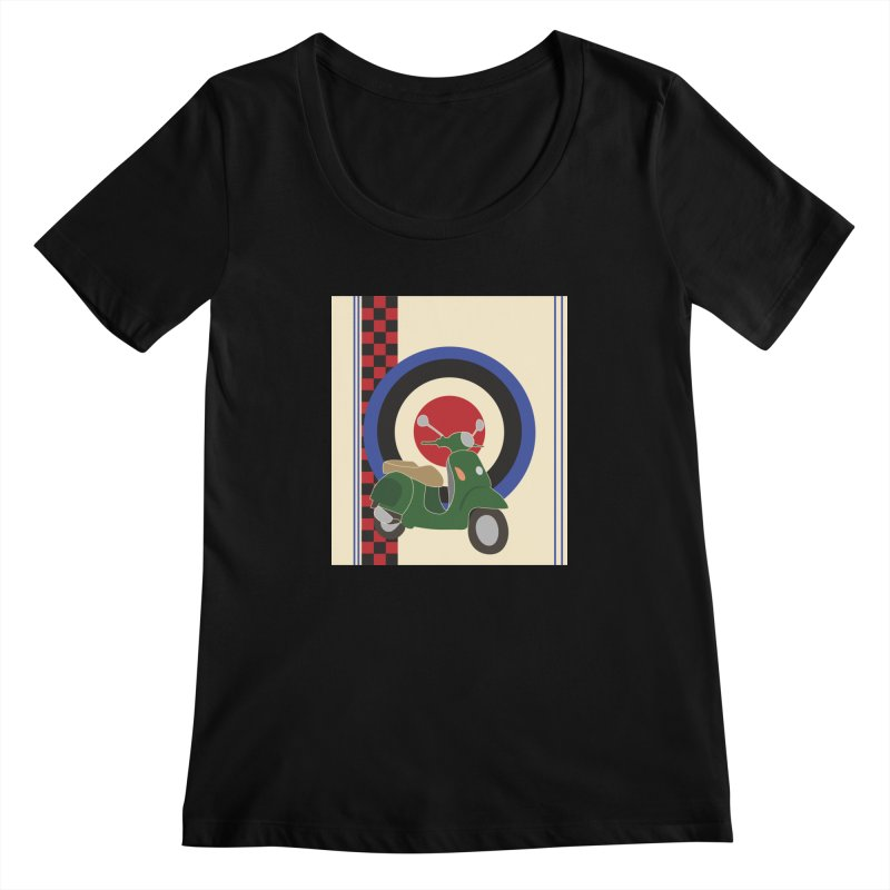 Mod scooter with symbols Women's Scoopneck by snapdragon64's Shop