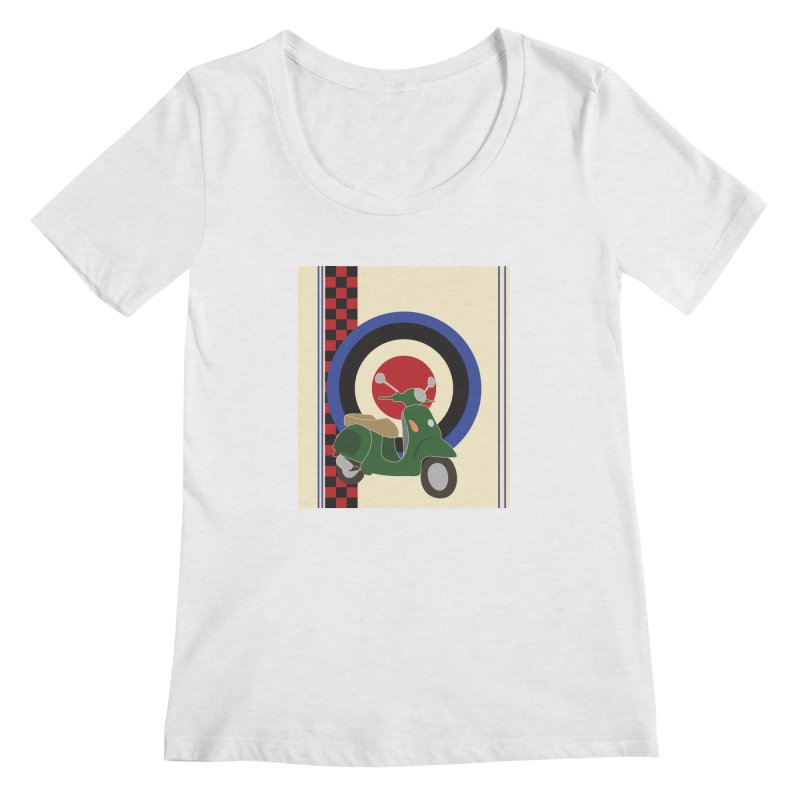 Mod scooter with symbols Women's Regular Scoop Neck by snapdragon64's Shop