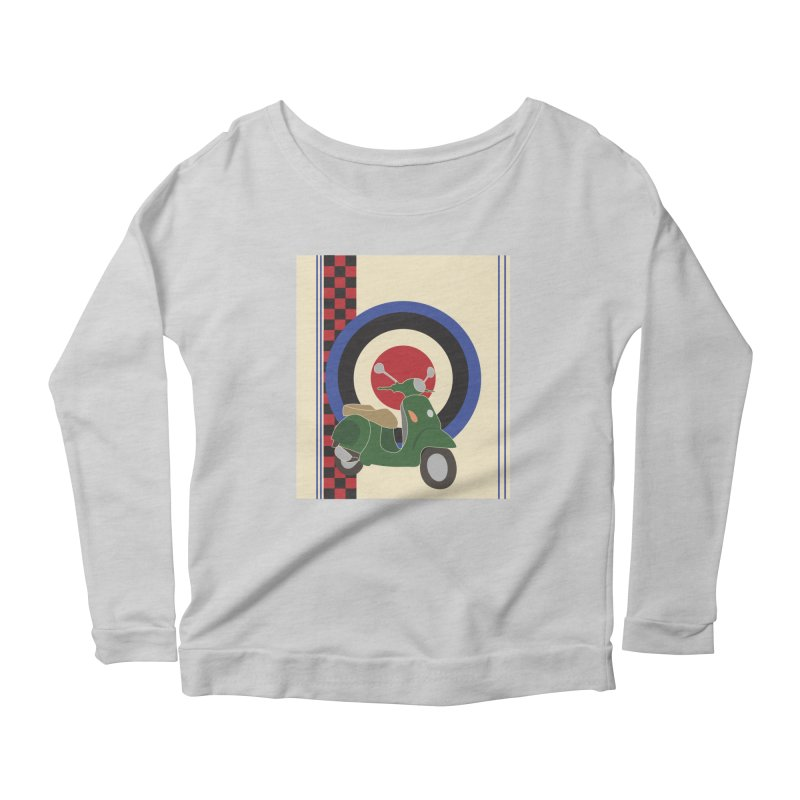 Mod scooter with symbols Women's Scoop Neck Longsleeve T-Shirt by snapdragon64's Shop