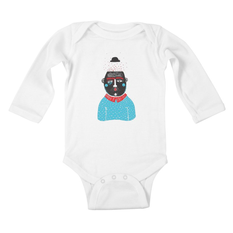 Portrait of One Nostalgic Man Kids Baby Longsleeve Bodysuit by Snezana Pupovic SNEP