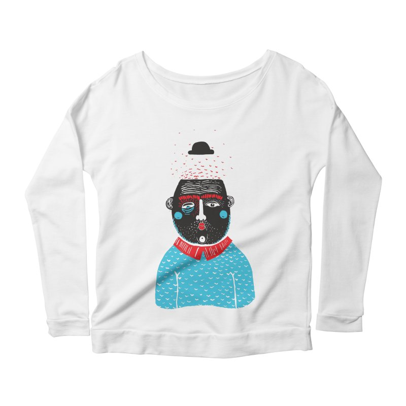 Portrait of One Nostalgic Man Women's Scoop Neck Longsleeve T-Shirt by Snezana Pupovic SNEP