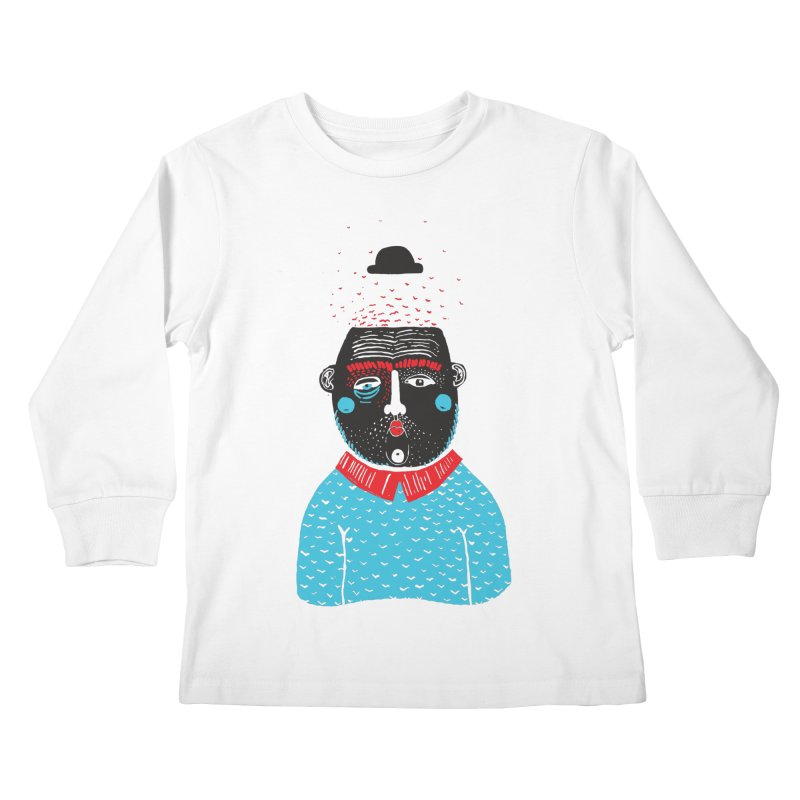 Portrait of One Nostalgic Man Kids Longsleeve T-Shirt by Snezana Pupovic SNEP