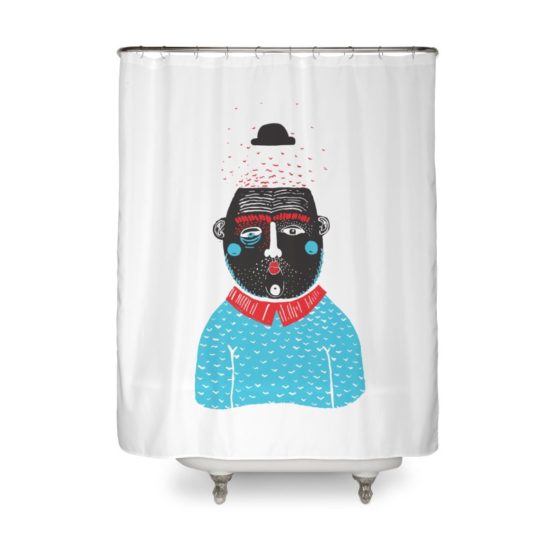 Portrait of One Nostalgic Man Home Shower Curtain by Snezana Pupovic SNEP