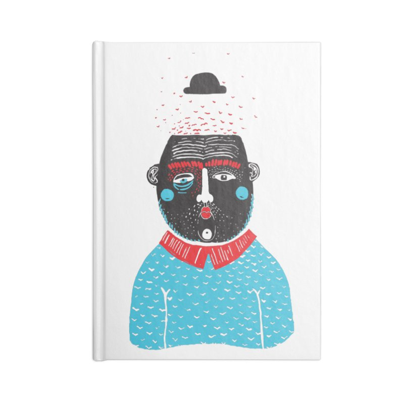 Portrait of One Nostalgic Man Accessories Lined Journal Notebook by Snezana Pupovic SNEP