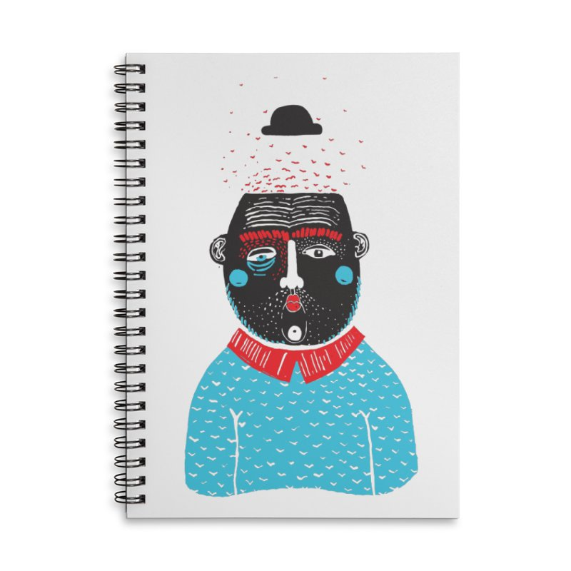 Portrait of One Nostalgic Man Accessories Lined Spiral Notebook by Snezana Pupovic SNEP