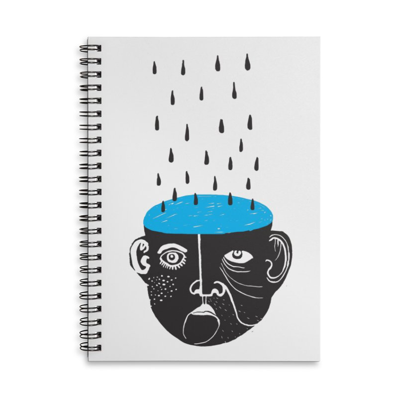 Rainy Brain Accessories Lined Spiral Notebook by Snezana Pupovic SNEP