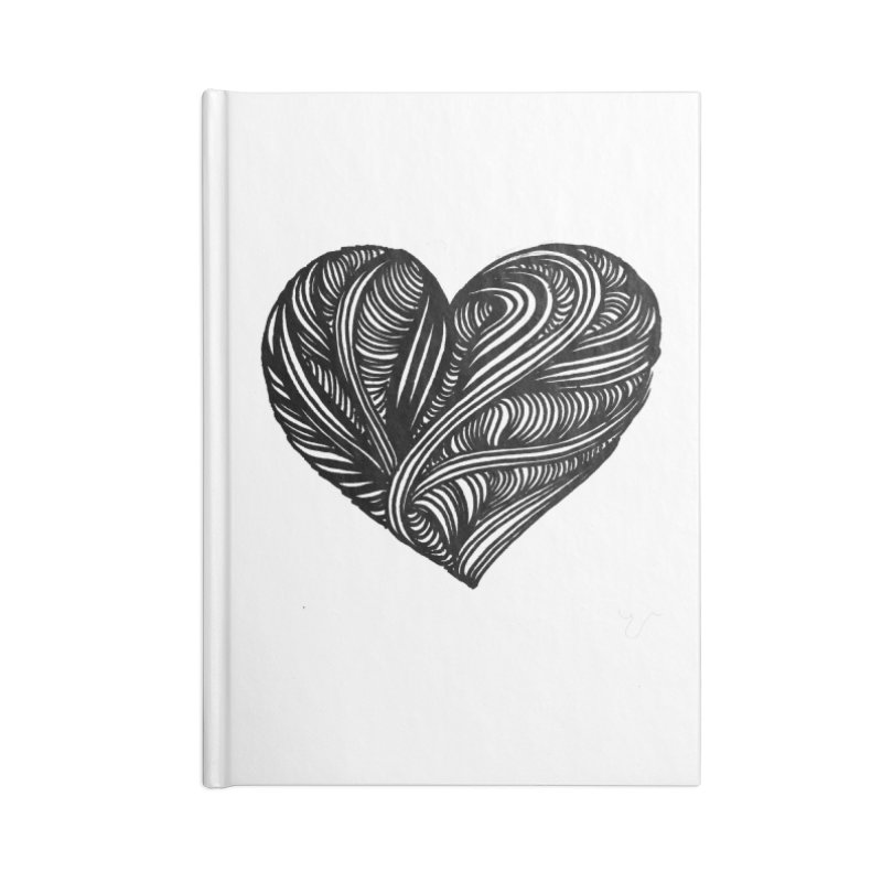 Heart 5 Accessories Blank Journal Notebook by Snow Tattoo