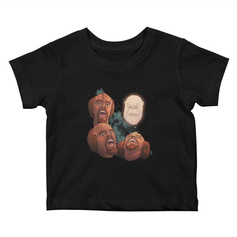 Three Worf Morn Kids Baby T-Shirt by Sobreiro's Shop