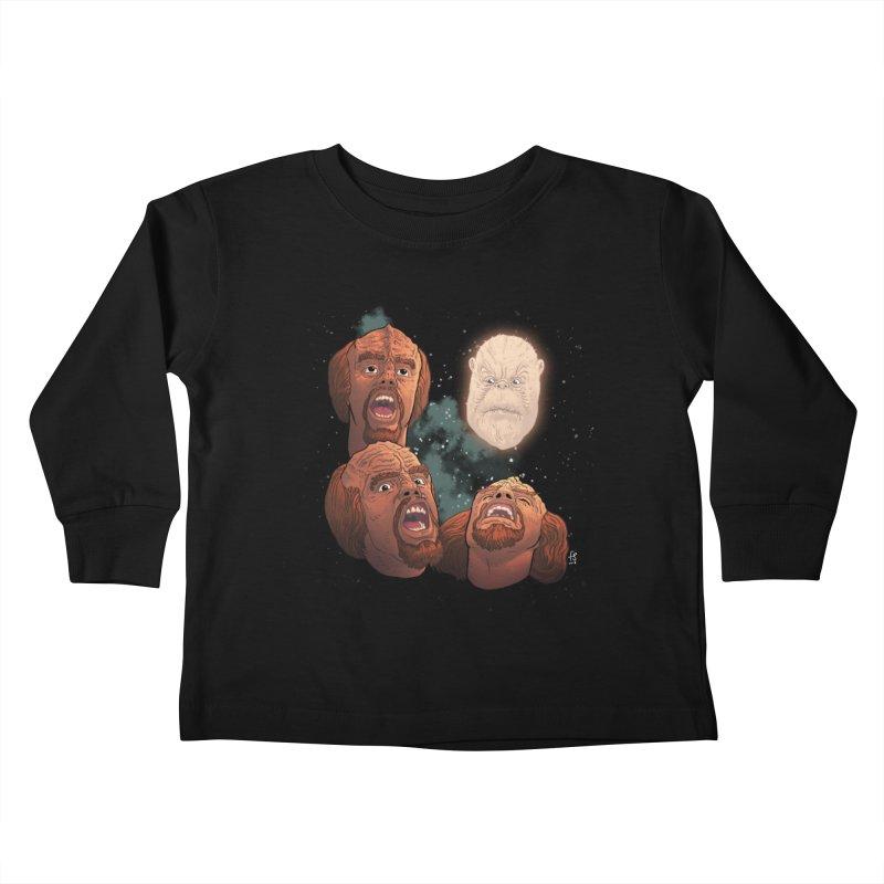 Three Worf Morn Kids Toddler Longsleeve T-Shirt by Sobreiro's Shop