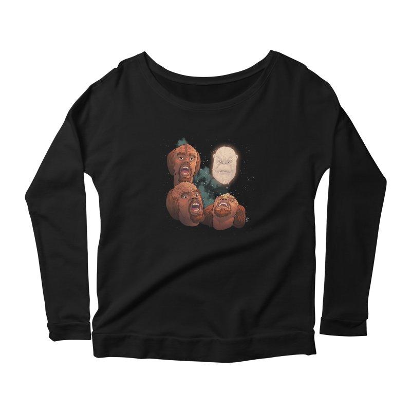 Three Worf Morn Women's Longsleeve Scoopneck  by Sobreiro's Shop