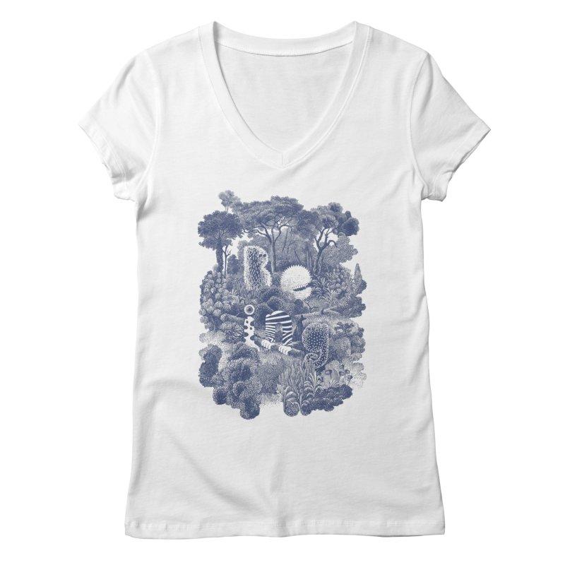 Biodiverse - monotone Women's V-Neck by SocialFabrica Artist Shop