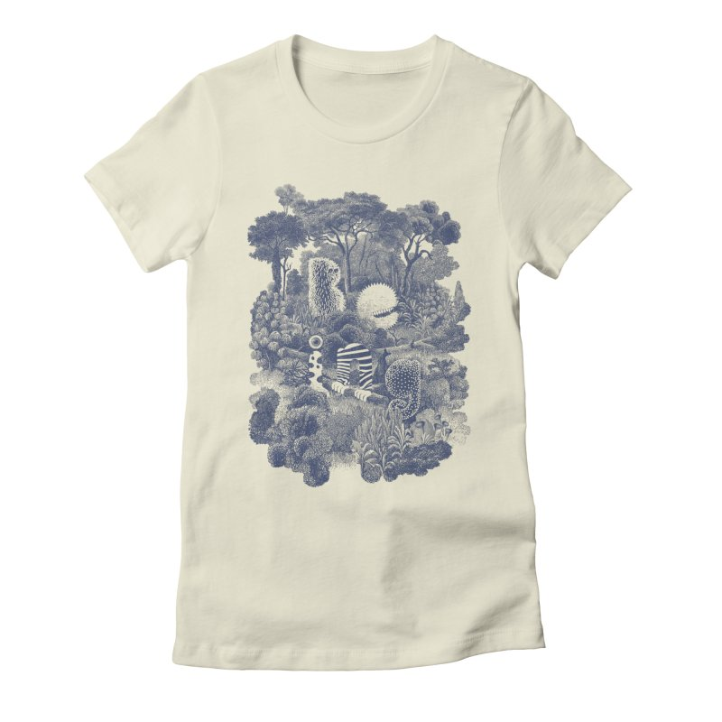 Biodiverse - monotone Women's Fitted T-Shirt by SocialFabrica Artist Shop