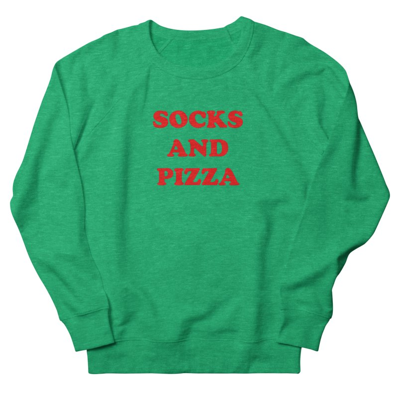 SOCKS AND PIZZA LOGO RED Women's Sweatshirt by SOCKS AND PIZZA MAG