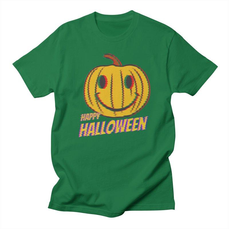 happy acid smiley pumpkin halloween Men's Regular T-Shirt by SOE