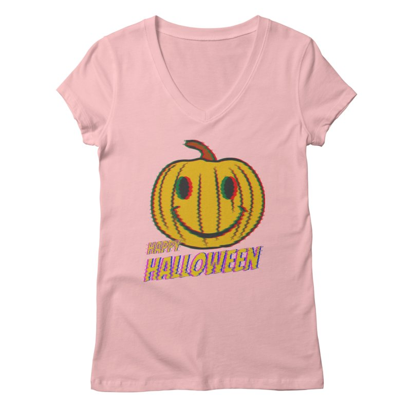 happy acid smiley pumpkin halloween Women's Regular V-Neck by SOE
