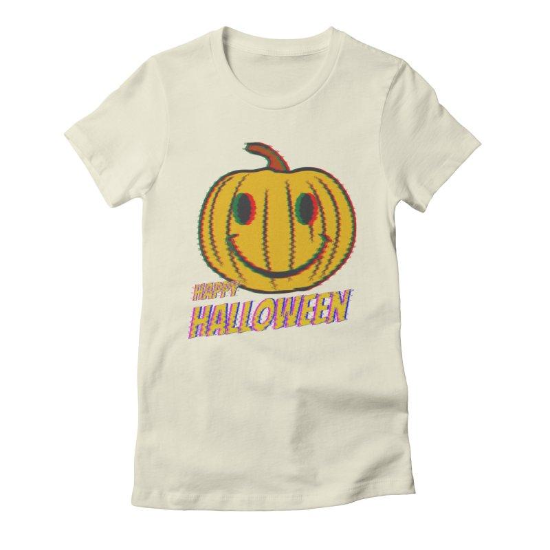 happy acid smiley pumpkin halloween Women's Fitted T-Shirt by SOE