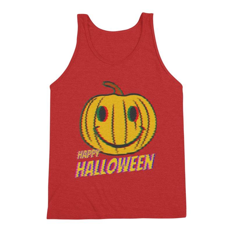 happy acid smiley pumpkin halloween Men's Triblend Tank by SOE