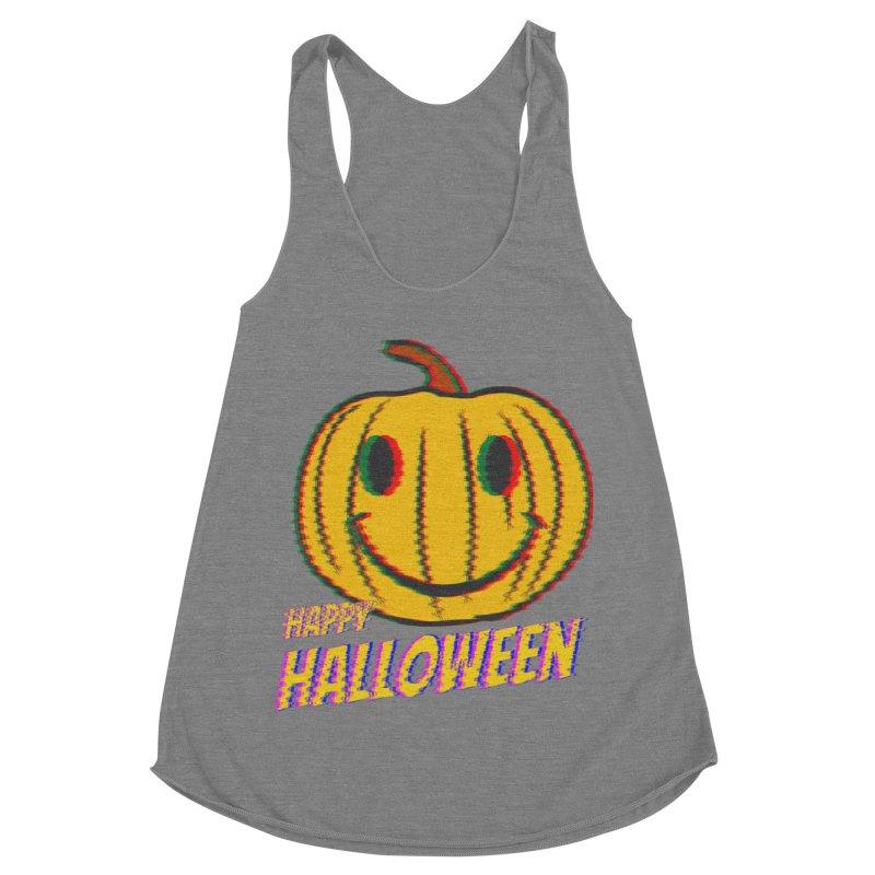 happy acid smiley pumpkin halloween Women's Racerback Triblend Tank by SOE