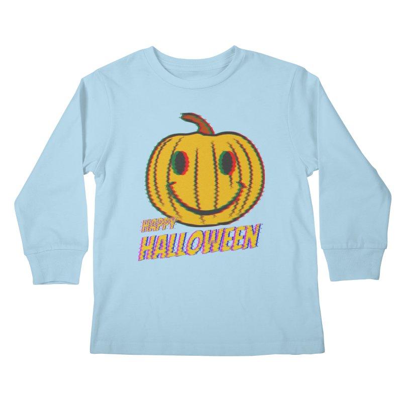 happy acid smiley pumpkin halloween Kids Longsleeve T-Shirt by SOE