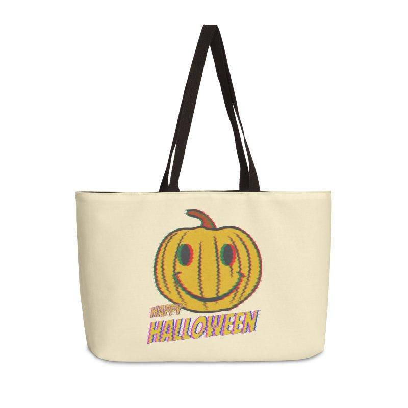 happy acid smiley pumpkin halloween Accessories Weekender Bag Bag by SOE