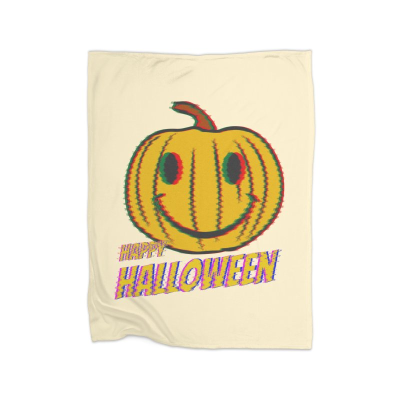 happy acid smiley pumpkin halloween Home Fleece Blanket Blanket by SOE