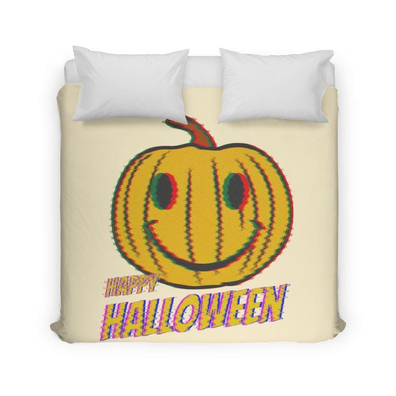 happy acid smiley pumpkin halloween Home Duvet by SOE