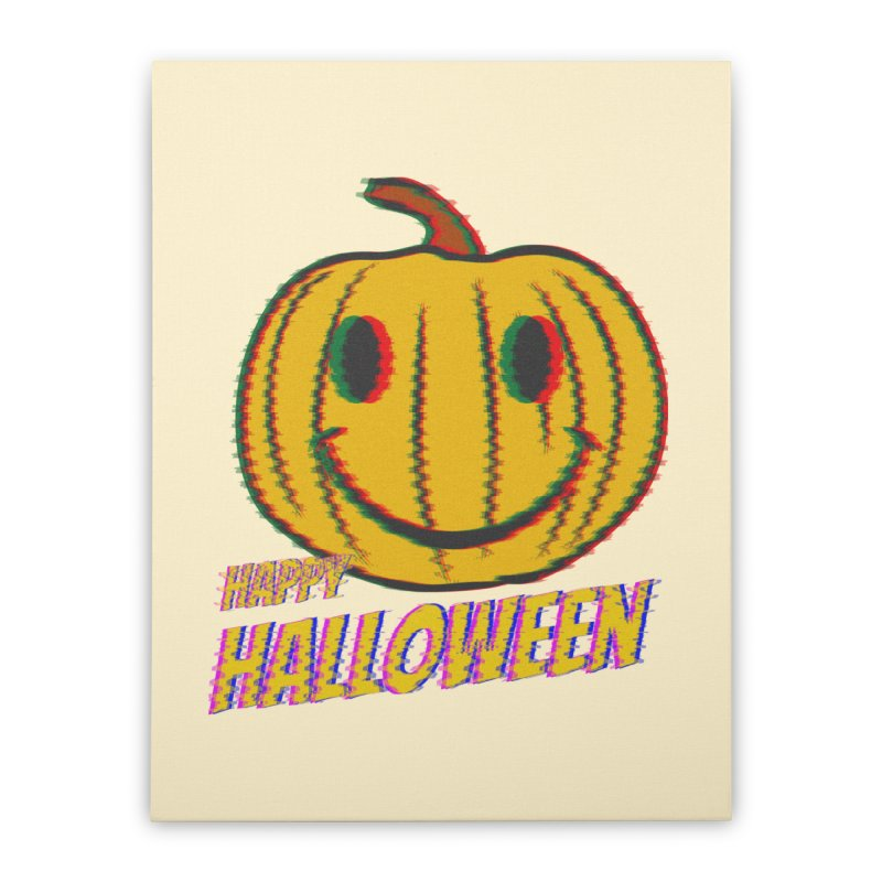 happy acid smiley pumpkin halloween Home Stretched Canvas by SOE