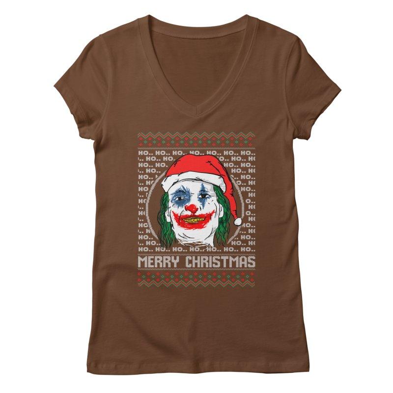 ho ho ho merry christmas ugly sweater joker Women's Regular V-Neck by SOE