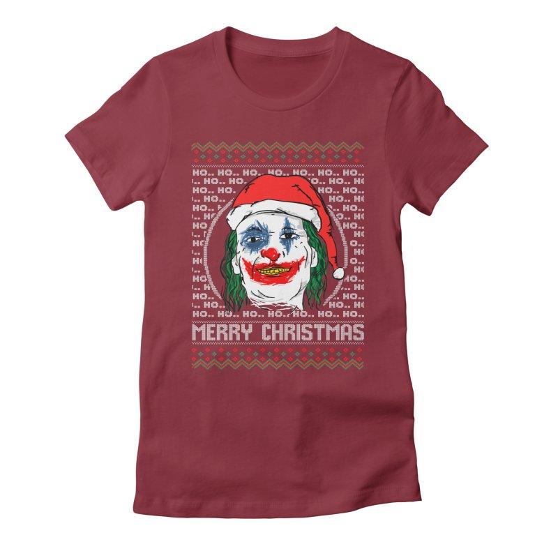 ho ho ho merry christmas ugly sweater joker Women's Fitted T-Shirt by SOE