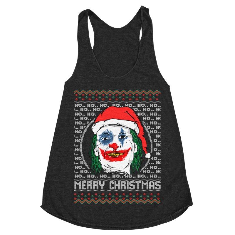 ho ho ho merry christmas ugly sweater joker Women's Racerback Triblend Tank by SOE