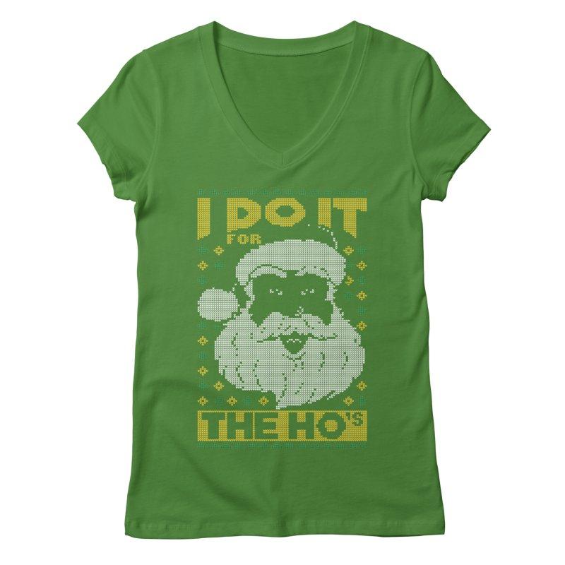 i do it for the hos funny santa claus ugly christmas sweater Women's Regular V-Neck by SOE