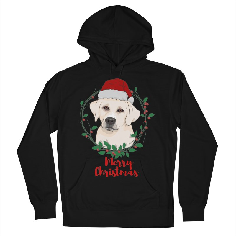labrador dog merry christmas Men's French Terry Pullover Hoody by SOE