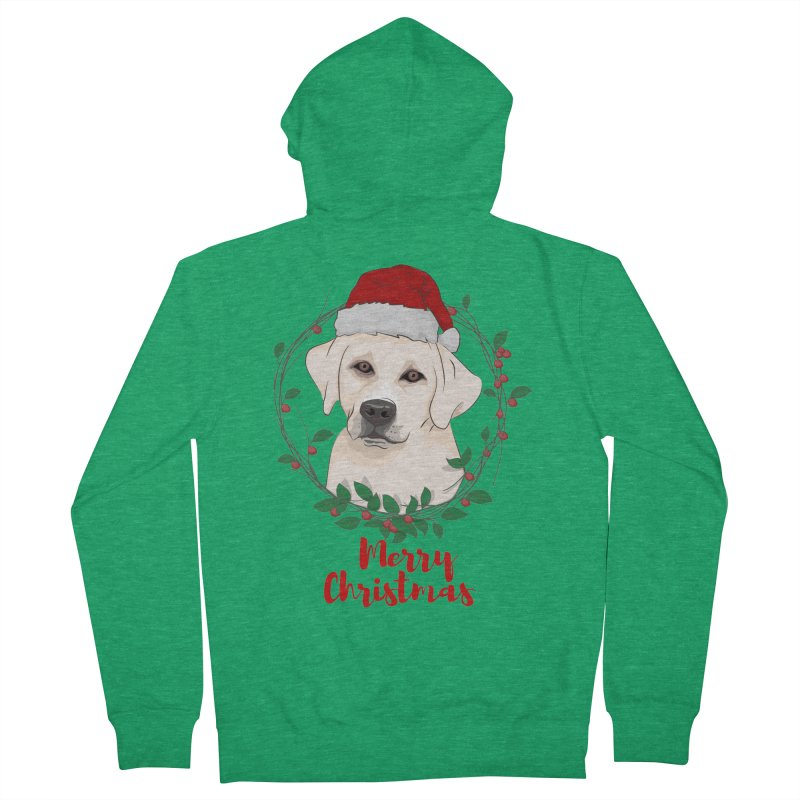 labrador dog merry christmas Men's French Terry Zip-Up Hoody by SOE