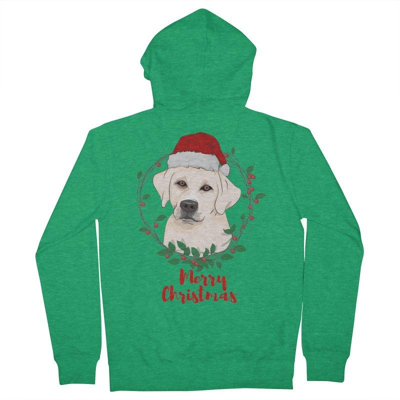 labrador dog merry christmas Men's Zip-Up Hoody by SOE