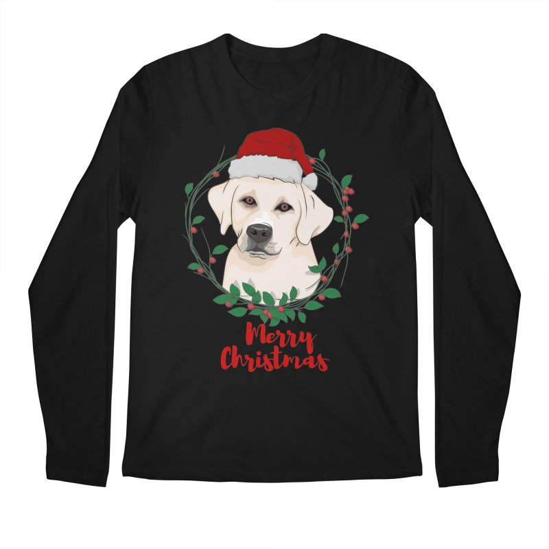 labrador dog merry christmas Men's Regular Longsleeve T-Shirt by SOE