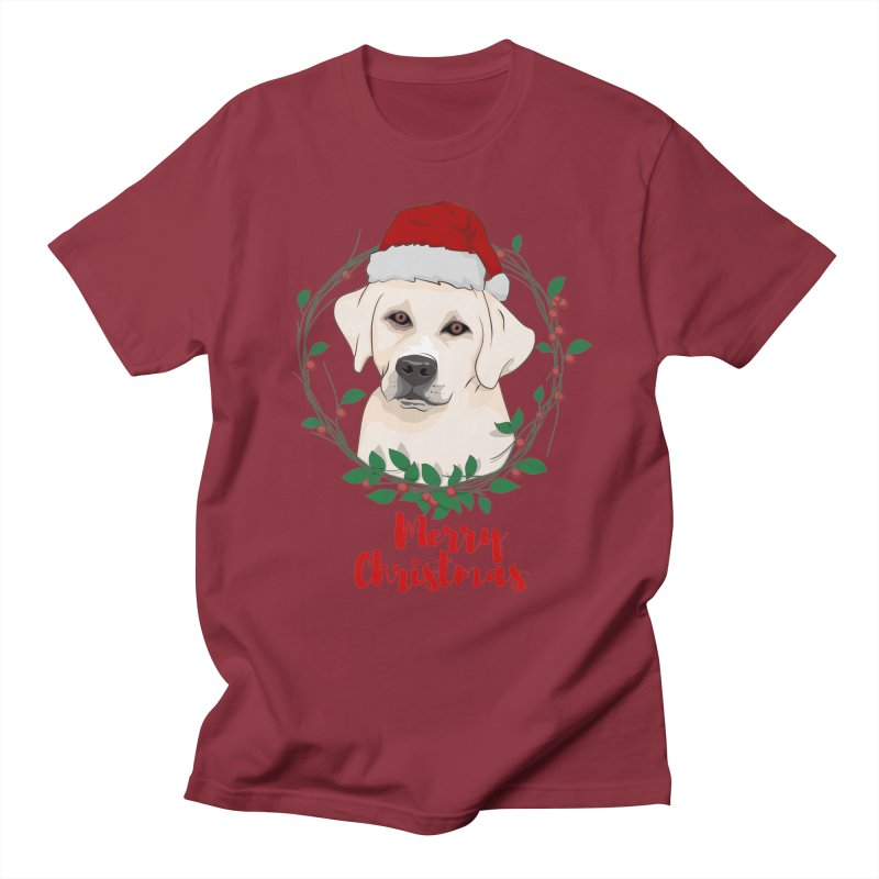 labrador dog merry christmas Men's T-shirt by SOE