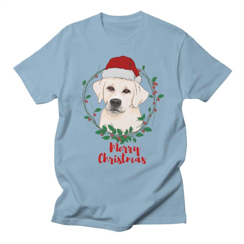 labrador dog merry christmas Men's T-Shirt by SOE
