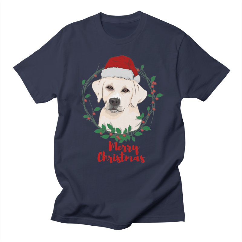 labrador dog merry christmas Men's Regular T-Shirt by SOE