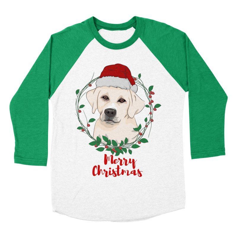 labrador dog merry christmas Men's Baseball Triblend T-Shirt by SOE