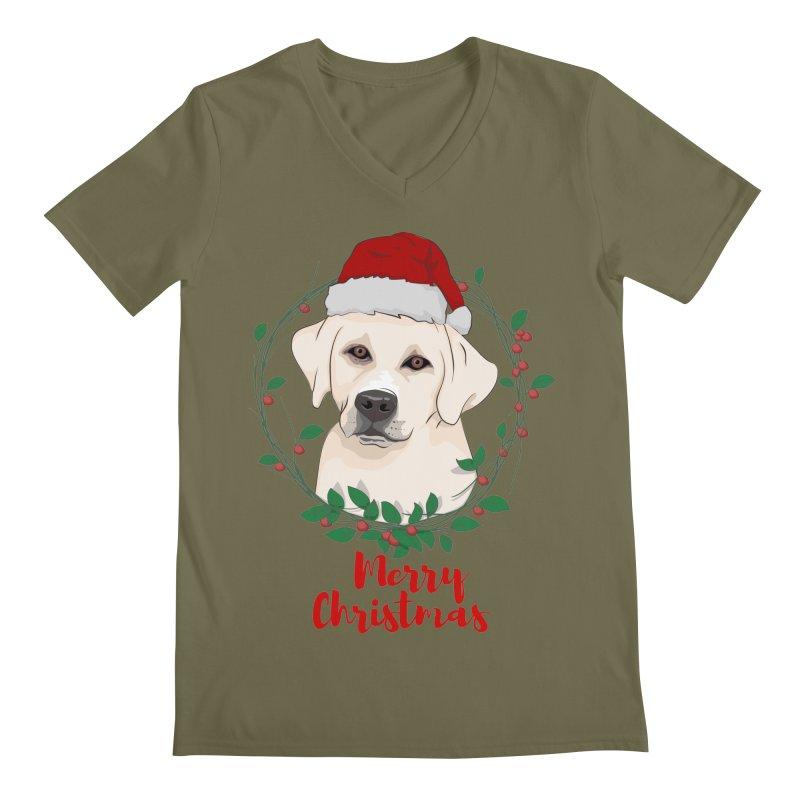 labrador dog merry christmas Men's Regular V-Neck by SOE