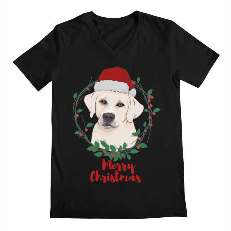 labrador dog merry christmas Men's V-Neck by SOE