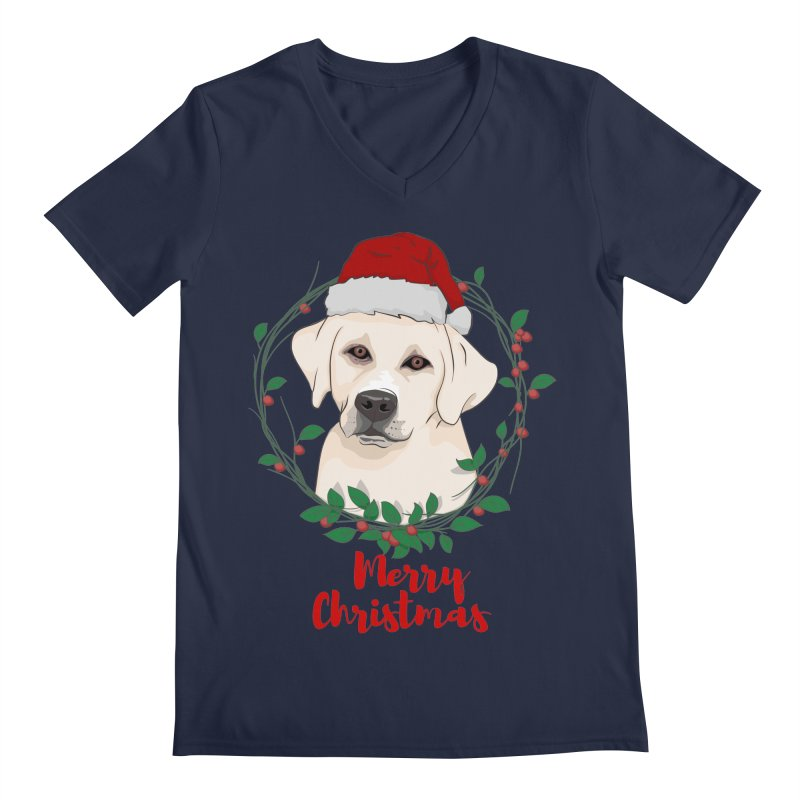 labrador dog merry christmas Men's V-Neck by SOE