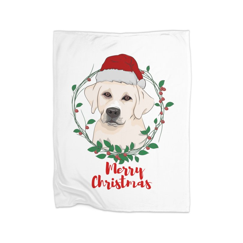 labrador dog merry christmas Home Fleece Blanket by SOE
