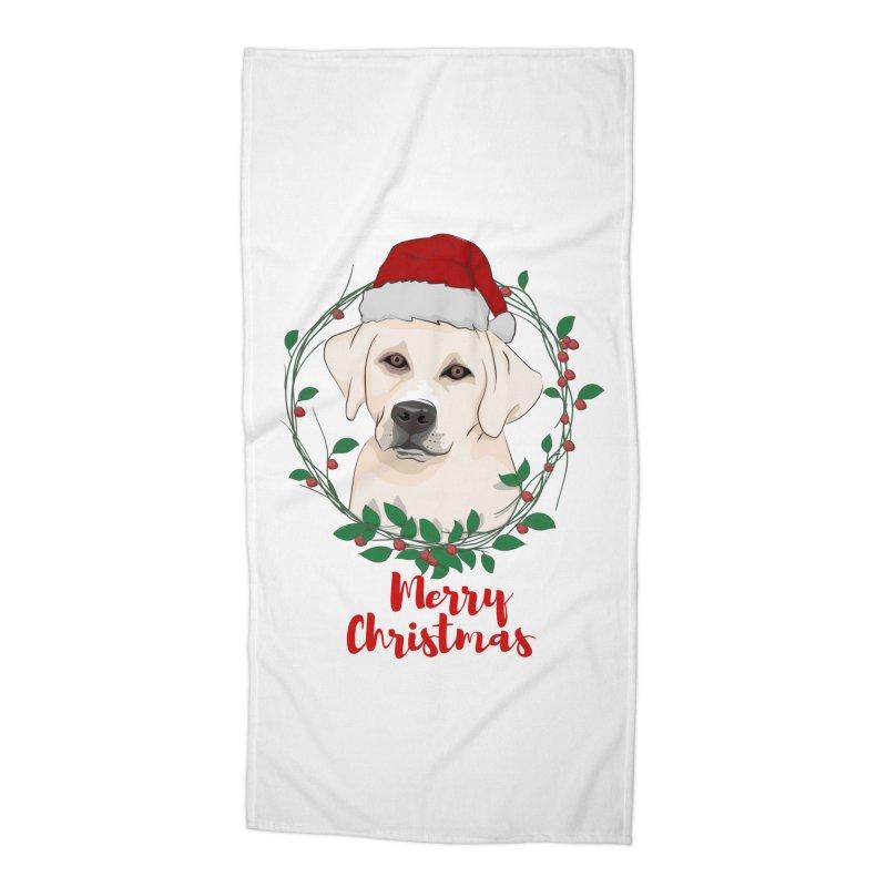 labrador dog merry christmas Accessories Beach Towel by SOE