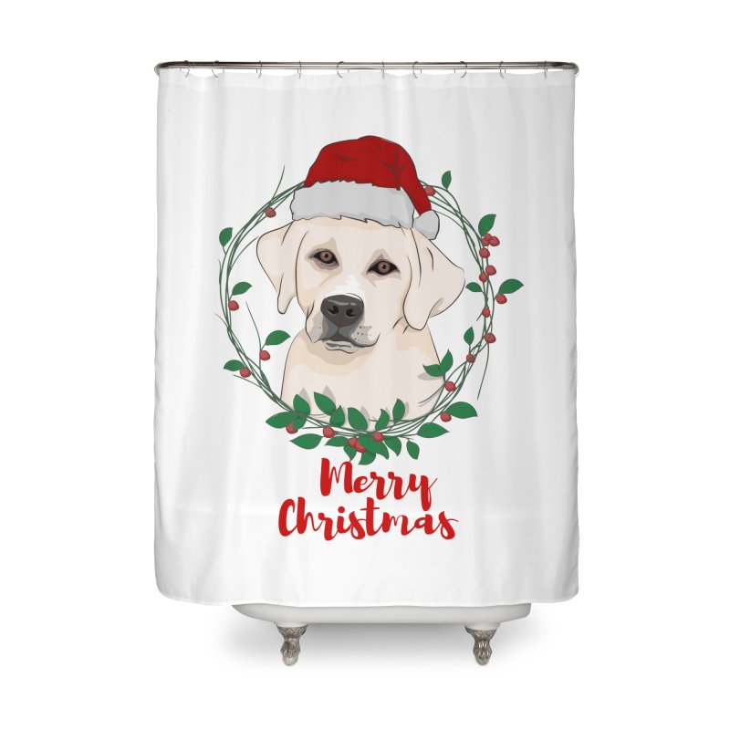 labrador dog merry christmas Home Shower Curtain by SOE