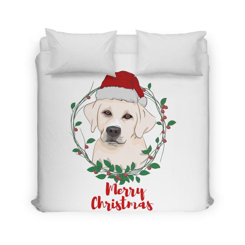 labrador dog merry christmas Home Duvet by SOE