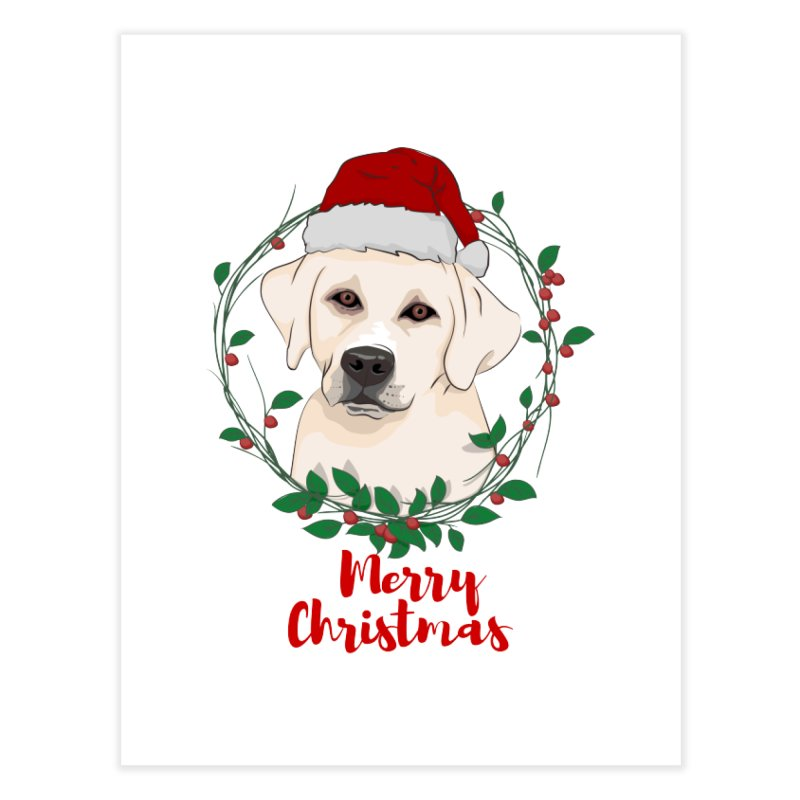 labrador dog merry christmas Home Fine Art Print by SOE