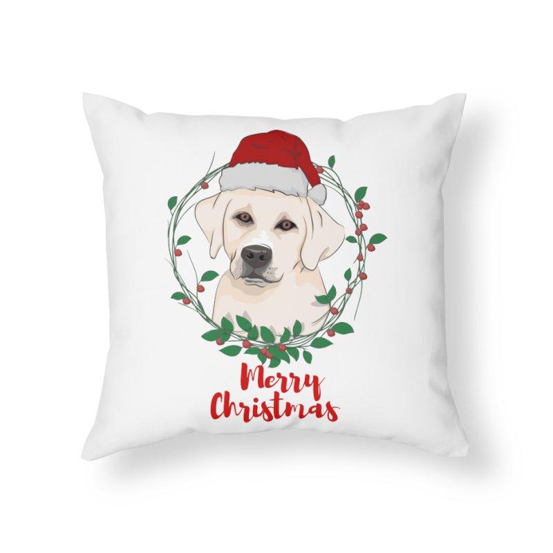 labrador dog merry christmas Home Throw Pillow by SOE