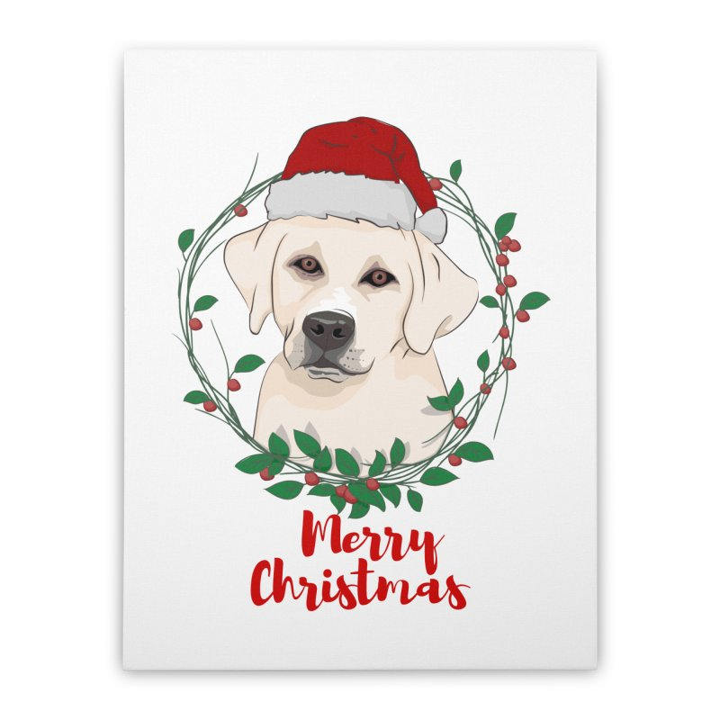 labrador dog merry christmas Home Stretched Canvas by SOE