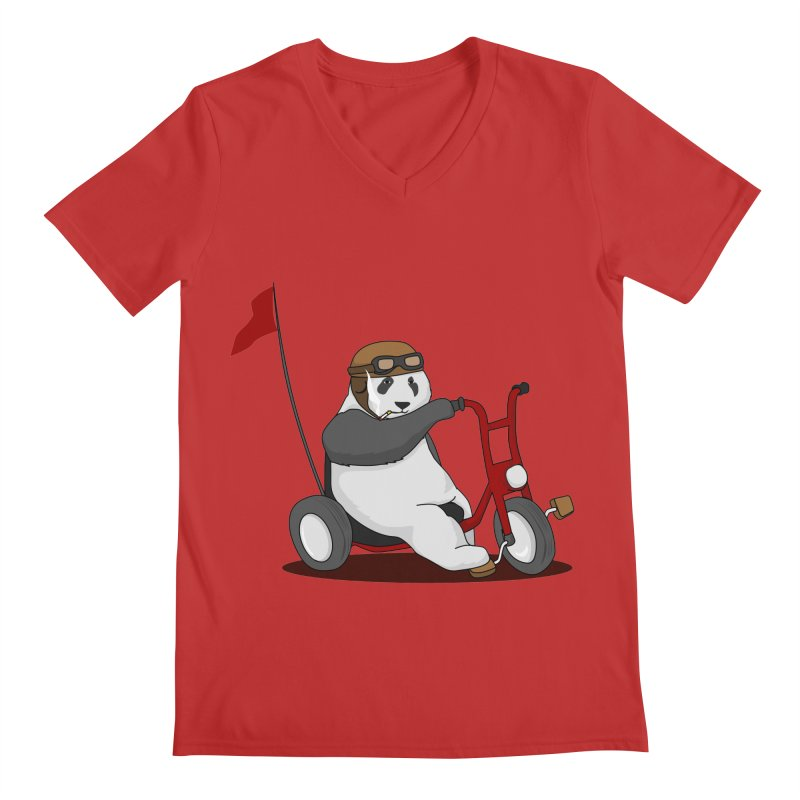 panda custom garage Men's Regular V-Neck by SOE